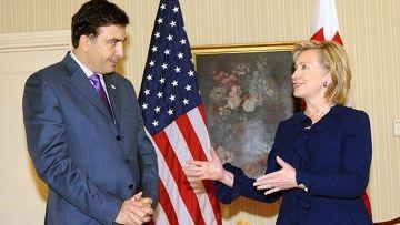 Президент Грузии, Михаил Саакашвили встретился с  госсекретарем Соединенных Штатов Америки Хилари Клинтон