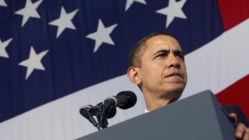 Барак Обама флаг США выступление
