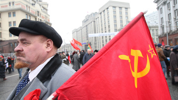 Двойник Владимира Ленина на митинге КПРФ