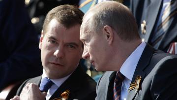 В. Путин и Д. Медведев на Параде Победы на Красной площади