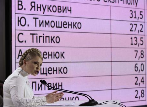 Юлия Тимошенко выступает на фоне предварительных результатов первого этапа выборов президента Украины
