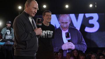 """В. Путин на съемках спецпроекта """"Муз-ТВ"""""""