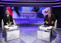 Фрагменты записи теледебатов кандидатов на пост президента Польши Я. Качиньского и Б. Коморовского