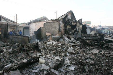 последствия обстрела КНДР острова Йонпхёндо