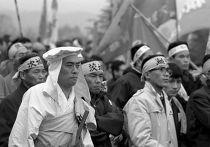 Демонстрация протеста у американской военной базы Йокота