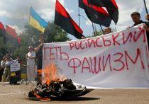 У российского посольства в Киеве сжигали портреты Сталина, Гитлера, георгиевскую ленту и государственный флаг России