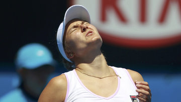 Надежда Петрова в матче Открытого чемпионата Австралии