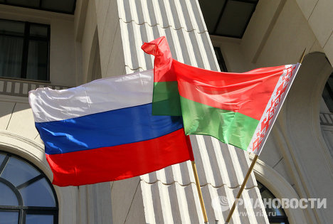 Флаги России и Белоруссии