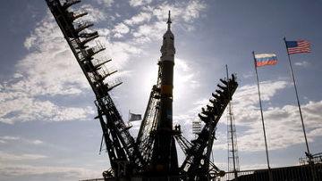 Запуск космического корабля «Союз ТМА-М» с космодрома «Байконур»