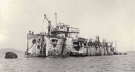 """Крейсер """"Варяг"""" после подъема в 1905 году"""