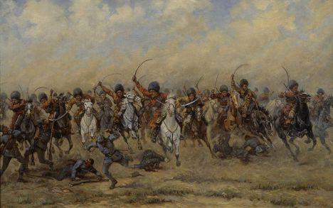 Конная атака «дикой дивизии». Рисунок периода Первой мировой войны