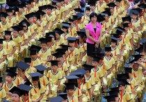 Преподаватель с учениками на праздновании дня рождения Конфуция, провинция Фуцзянь, Китай