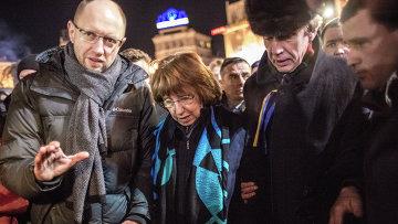 Глава европейской дипломатии Кэтрин Эштон на площади Независимости в Киеве