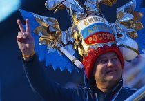 Болельщик на церемонии закрытия XXII зимних Олимпийских игр в Сочи.