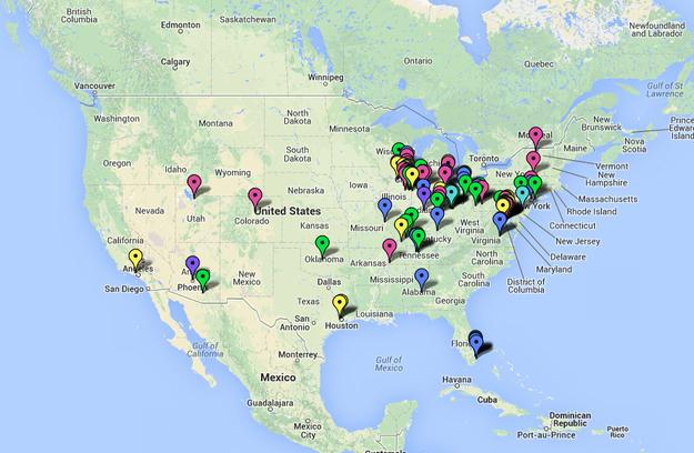 Заброшенные моллы на карте США