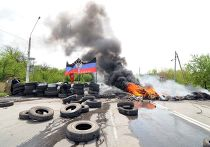 Горящие баррикады в Краматорске