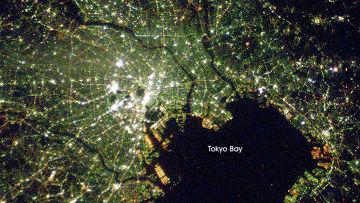 Космический снимок Токио и Токийского залива