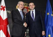 Председатель Европейского совета Херман Ван Ромпей и премьер-министр Грузии Ираклий Гарибашвили во время встречи в Тбилиси