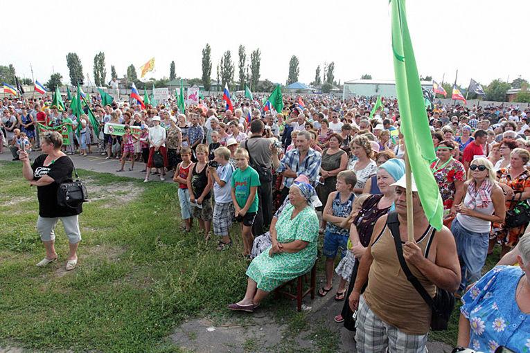 Митинг против добычи цветных металлов в Черноземье в городе Новохоперск
