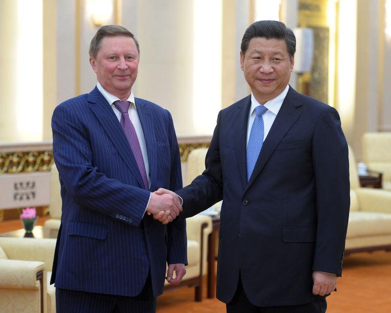 Сергей Иванов и председатель КНР Си Цзиньпин во время рабочей встречи в Пекине