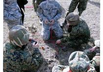 Американские инструкторы проводят практические занятия с грузинскими военными по установке мин-ловушек