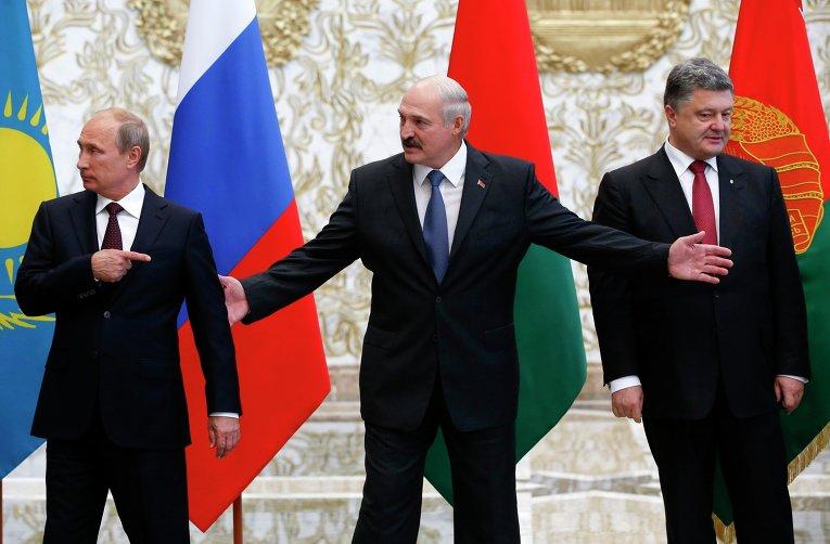Владимир Путин, Александр Лукашенко и Петр Порошенко на встрече в Минске