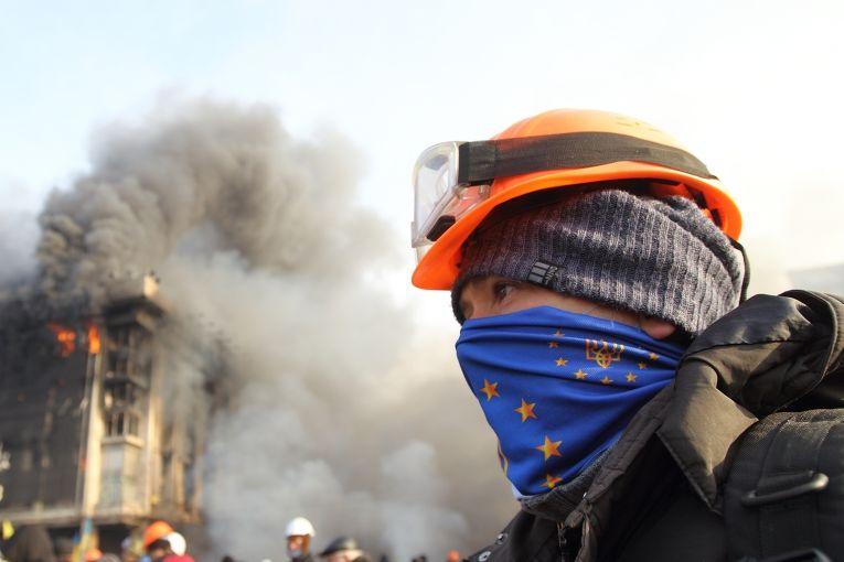 Протестующий на Площади Независимости в Киеве