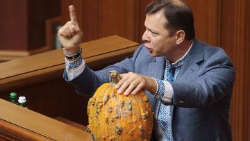 Народный депутат Украины Олег Ляшко выступает на заседании Верховной рады