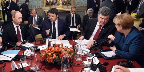 Президент России Владимир Путин, премьер-министр Италии Маттео Ренци, президент Украины Петр Порошенко и канцлер ФРГ Ангела Меркель на форуме саммите «Европа-Азия» в Милане