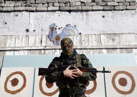 Пророссийский ополченец в Донецке