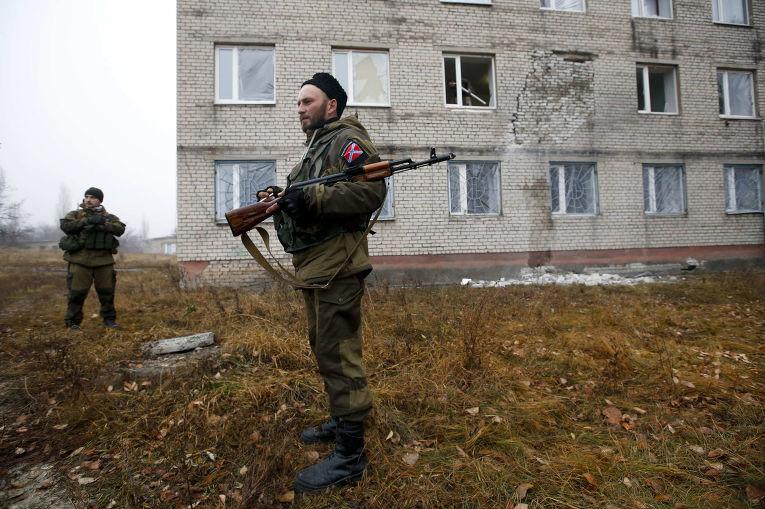 Ополченцы в городе Первомайск Луганской области