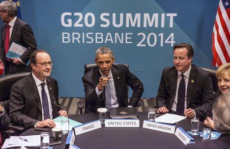 Франсуа Олланд, Барак Обама, Дэвид Кэмерон и Ангела Меркель на саммите G20 в Брисбене: обсуждение создания ТТИП