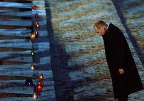 Владимир Путин зажег поминальную свечу у мемориала узникам Освенцима
