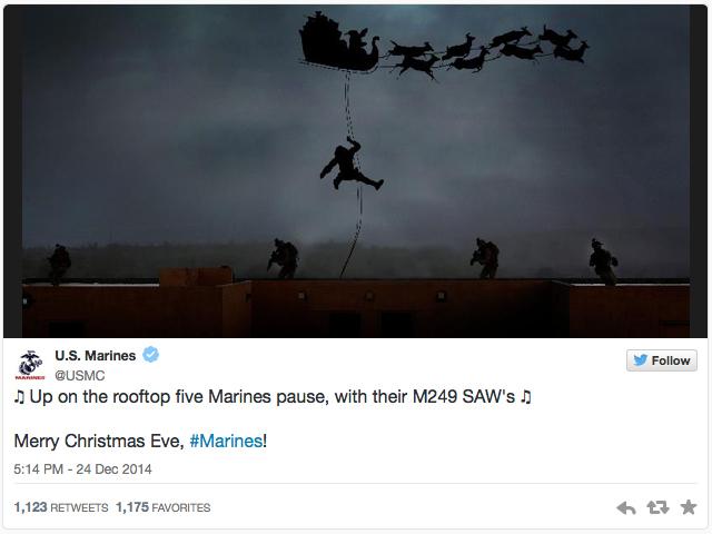 Позравление с Рождеством от Корпуса морской пехоты США