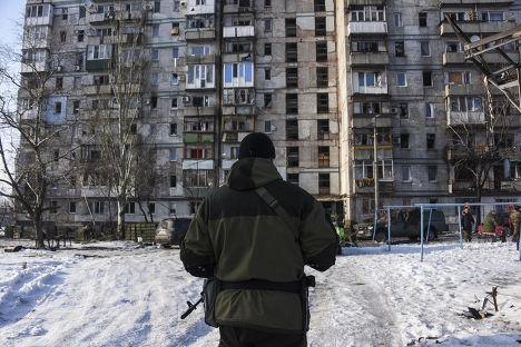 Дом в Донецке, занятый пророссийскими ополченцами