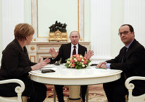 Переговоры Ангелы Меркель и Франсуа Олланда с Владимиром Путиным в Москве