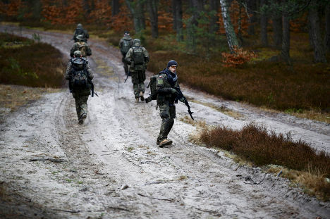 Тренировка добровольческого вооруженного формирования SJS Strzelec рядом с городом Миньск-Мазовецки
