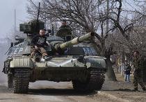 Танк украинской армии в Луганском Донецкой области