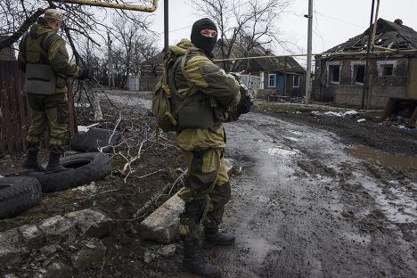 Ополченцы на окраине Донецка