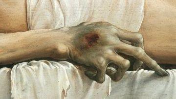 Ганс Гольбейн Младший «Мёртвый Христос в гробу», 1521—22 (деталь)
