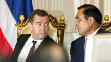 Дмитрий Медведев и премьер-министр Таиланда Прают Чан-Оча, российско-таиландские переговоры в Бангкоке