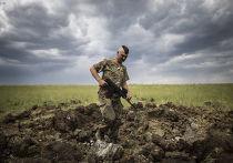 Украинский военный осматривает кратер от ракеты «Град» в деревне Тошковка Луганской области