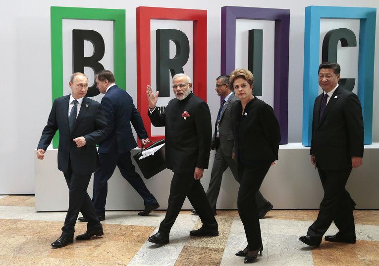 Владимир Путин, Нарендра Моди, Дилма Русеф и Си Цзиньпин на саммите БРИКС в Уфе