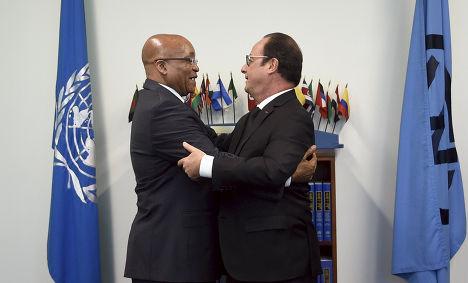 Вcтреча Джейкоба Зумы и Франсуа Олланда во время 70-й сессии Генеральной ассамблеи ООН