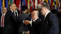 Барак Обама и Петр Порошенко на 70-й сессии Генеральной ассамблеи ООН
