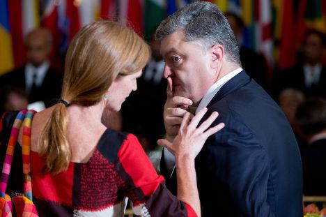 Саманта Пауэр и Петр Порошенко на 70-й сессии Генеральной ассамблеи ООН
