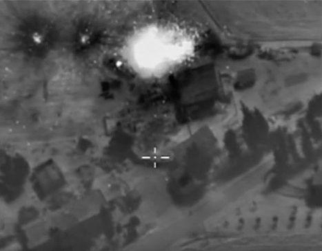 Ночная бомбардировка позиций ИГ (запрещена в РФ) на территории Сирии российской авиацией