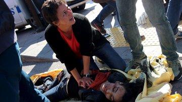 Женщина, получившая ранение во время взрыва в Анкаре, Турция