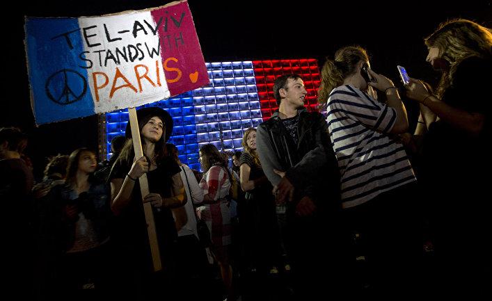 Митинг в поддержку Франции в Тель-Авиве