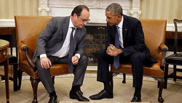Президент Франции Франсуа Олланд и президент США Барак Обама во время встречи в Белом доме